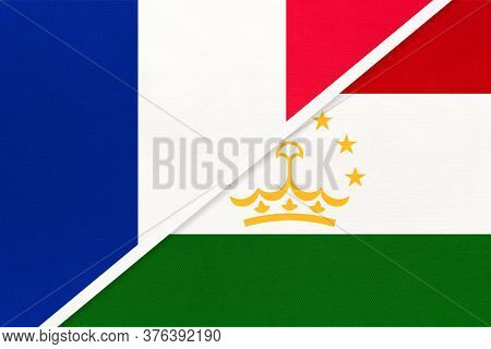 French Republic Or France And Tajikistan, Symbol Of Two National Flags From Textile. Relationship, P