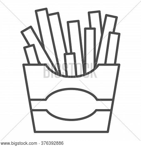French Fries Thin Line Icon, Junk Food Concept, Potatoes Fries In Paper Bag Sign On White Background