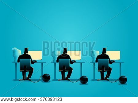 Business Concept Illustration Of Businessmen Working On Computers Chained Into Iron Ball