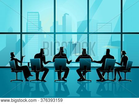Business Illustration Of Business People Having A Meeting In Executive Conference Room With Cityscap