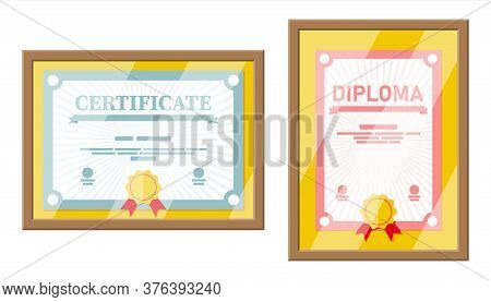 Certificate Template In Wooden Frame. Diploma Or Accreditation With Yellow Stamp And Red Ribbons. Vo