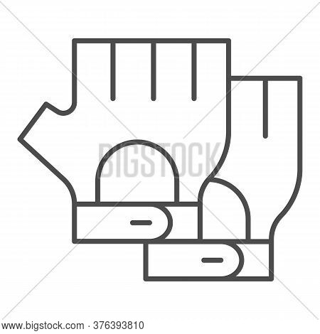 Cyclist Gloves Thin Line Icon, Bicycle Accessories Concept, Fitness Gloves Sign On White Background,