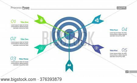 Five Arrows Hitting Target Process Chart Template. Business Data Visualization. Success, Result, Pla