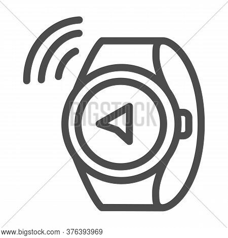 Watch Compass Line Icon, Directions And Navigation Concept, Smart Watch Sign On White Background, Co