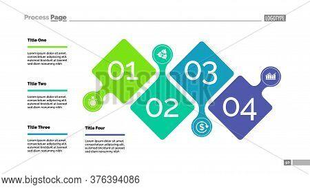 Four Steps Project Process Chart Template For Presentation. Illustration. Abstract Elements Of Diagr