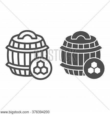 Barrel Of Honey Line And Solid Icon, Beekeeping Concept, Wooden Barrel And Honeycomb Sign On White B