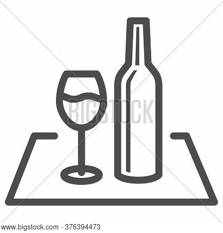 Glass Of Wine And Bottle On The Tablecloth Line Icon, Picnic Concept, Picnic Food Sign On White Back