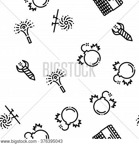 Firework Pyrotechnic Seamless Pattern Vector Thin Line. Illustrations