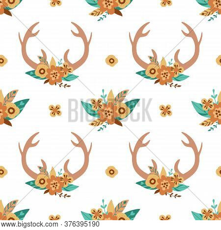 Deer Horns Pattern. Cute Floral Antlers In The Bohemian Style. Hand Drawn Deer Horns Background. Vec