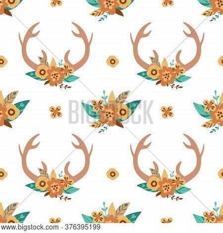 Deer Horns Pattern. Cute Floral Antlers In The Bohemian Style. Hand Drawn Deer Horns Background. Tri