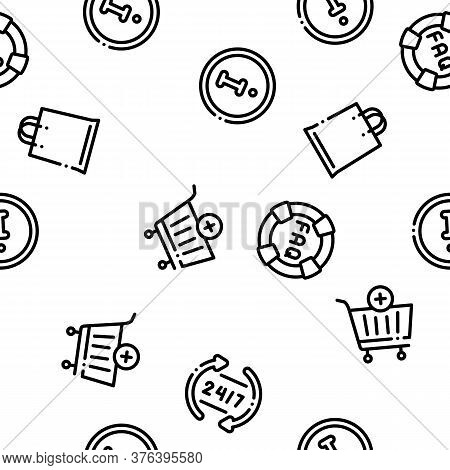 Webshop Internet Store Seamless Pattern Vector Thin Line. Illustrations