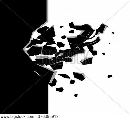 Business Concept Vector Illustration Of A Businessman Breaking The Wall. Business, Breakthrough, Suc