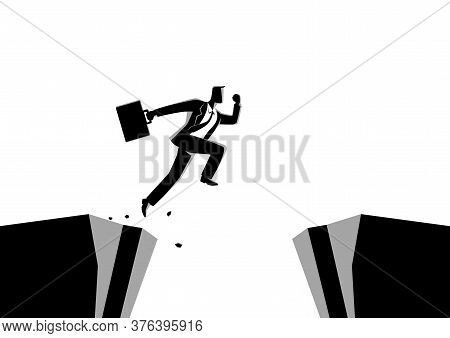 Business Concept Vector Illustration Of A Businessman Jumps Over The Ravine. Challenge, Obstacle, Op