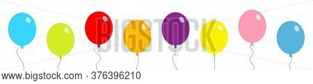 Balloon Set Line Banner. Bunch Of Balloons. Colorful Transparent Helium Toy On String Thread. Flying
