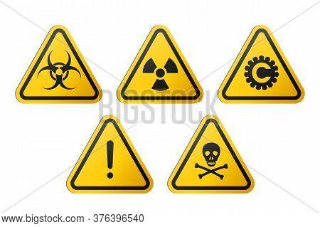 Triangular Signs Of A Hazard Warnings : Biohazard, Ionizing Radiation, Coronavirus, Poison And Gener