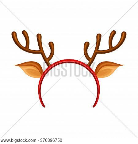 Hair Hoop Or Headband With Deer Antlers As Carnival Or Party Attribute Vector Illustration