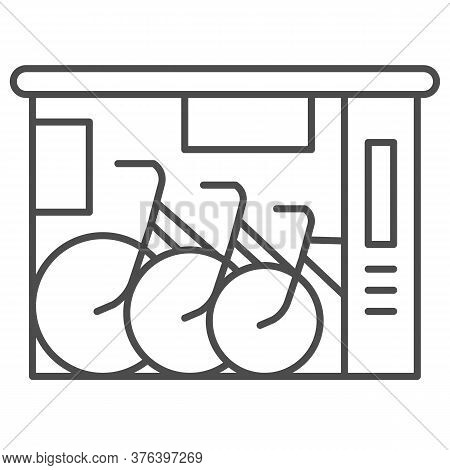 Bicycle Shop Thin Line Icon, Outdoor Sport Concept, Bike Shop And Service Sign On White Background,