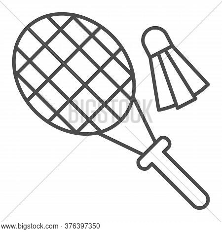 Racket And Shuttlecock Thin Line Icon, Summer Sport Concept, Badminton Sign On White Background, Bad