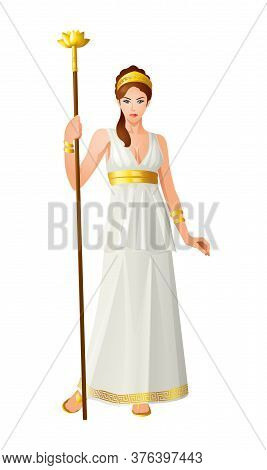 Greek God And Goddess Vector Illustration Series, Hera, The Wife And One Of Three Sisters Of Zeus In