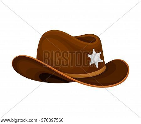 Cowboy Or Sheriff Hat With Wide Brims Vector Illustration