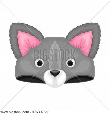 Plush Hat With Cute Animal Muzzle Vector Illustration