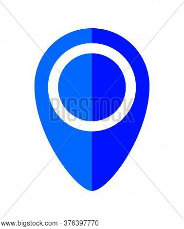 Pin Point Symbol Blue For Icon Isolated On White, Modern Blue Pin Circle For Location Icon Marker
