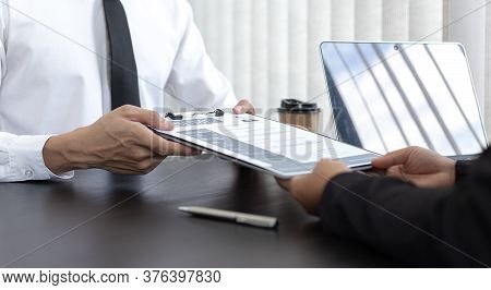 HR head is reading the resume and information about the candidate's history, Field employers are int