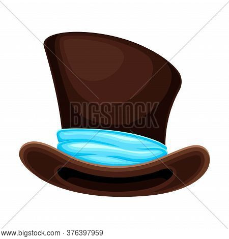 Top Hat Or Cylinder With Ribbon And Wide Brims Vector Illustration
