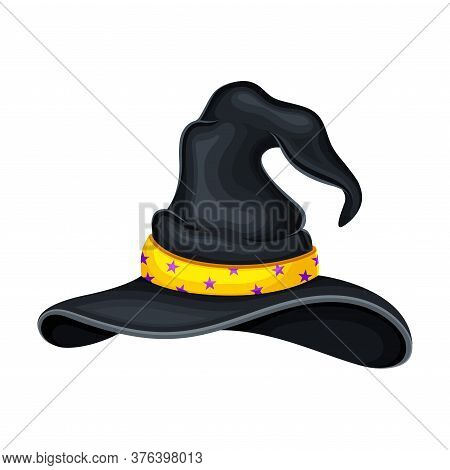 Witch Pointed Hat With Ribbon And Wide Brims Vector Illustration