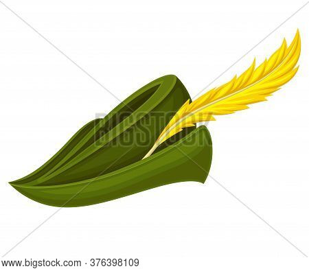 Robin Hood Green Hat With Feather Isolated On White Background Vector Illustration