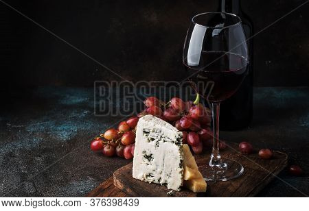 Port Wine And Blue Cheese, Still Life In Rustic Style, Vintage Wooden Table Background, Selective Fo