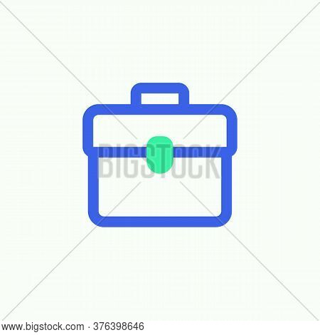 Document Portfolio Icon Vector, Briefcase Portfolio Filled Flat Sign, Bicolor Pictogram, Green And B