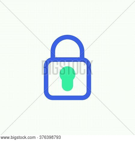 Locked Lock Icon Vector, Filled Flat Sign, Padlock Lock Bicolor Pictogram, Green And Blue Colors. Sy