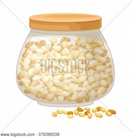 Dry Seeds Of Cereals Or Grain Crops Rested In Glass Container Vector Illustration