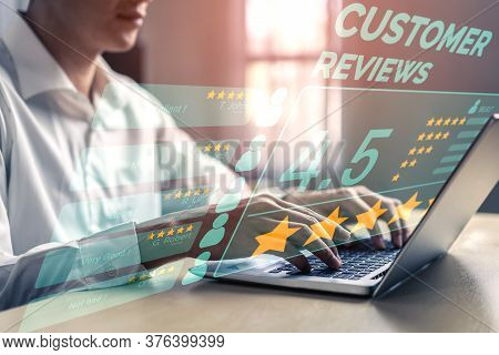 Customer Review Satisfaction Feedback Survey Concept. User Give Rating To Service Experience On Onli