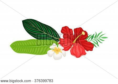 Palm Leaves With Hibiscus And Plumeria Flowers Hawaiian Vector Composition