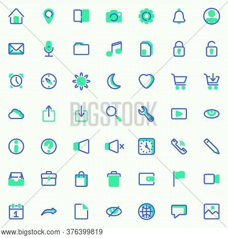 Basic Ui Vector Icons Set, Modern Solid Bicolor Symbol Collection, Filled Style Pictogram Pack. Sign