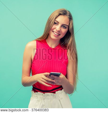 Overjoyed Happy Excited Female Glad To Recieve Text Message Informing About Salary, Rejoices Good Ne
