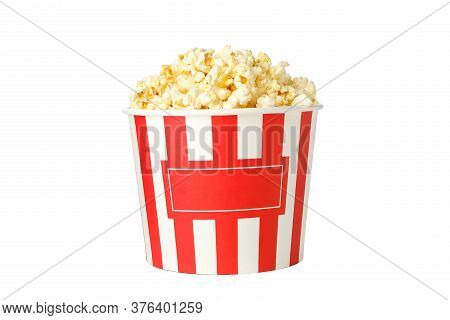 Cardboard Bucket With Popcorn Isolated On White Background