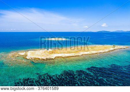 Adriatic Coastline In Croatia, Beautiful Small Island Of Veli Lagan In Turquoise Sea In Dugi Otok Ar