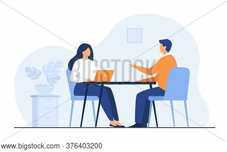 Job Interview Conversation. Hr Manager And Employee Candidate Meeting And Talking. Man And Woman Sit