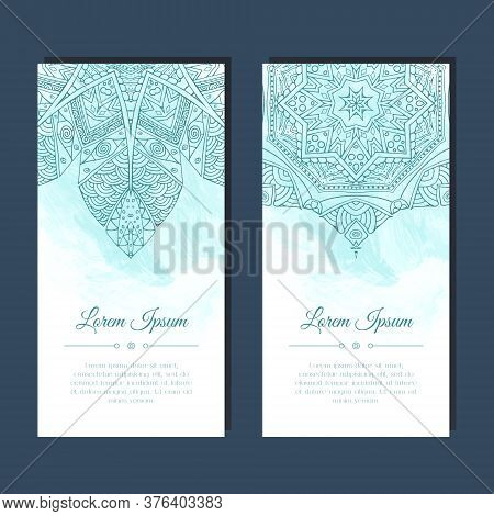 Cards Set With Mandala Mehndi Ornament In East Indian Style. Abstract Background. Ethnic Design For