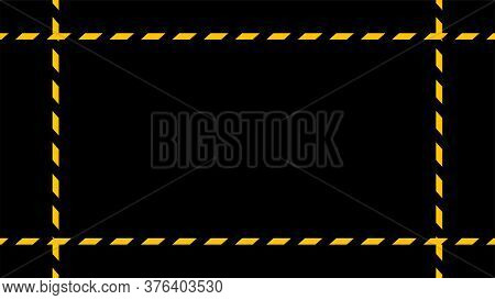 Caution Tape Line On Black Background, Tape Yellow Black Stripe, Warning Space With Ribbon Tape Sign