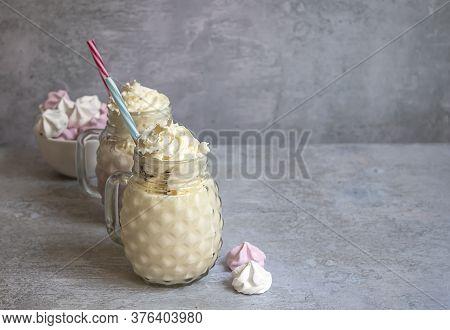 Ice Cream Milkshakes With Whipped Cream In Mason Jars. Vanilla And Berries Shake With Meringues. Cop