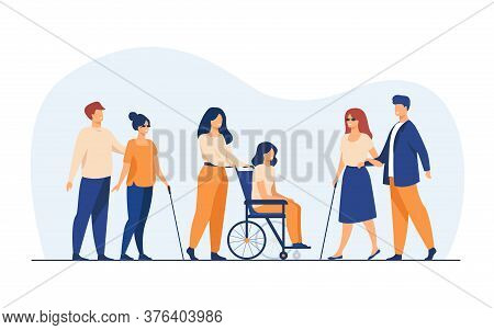 Volunteers Helping Disabled Friends In Outdoor Walking, Leading Blind People Or Wheeling Wheelchair.