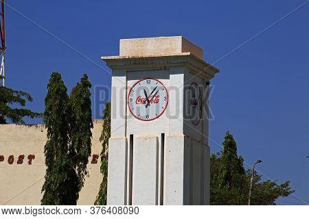Moshi / Tanzania - 08 Jan 2017: The Clock Tower In Moshi City Of Tanzania, Africa