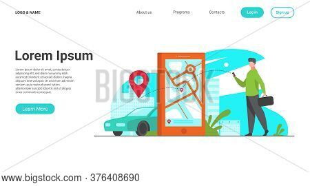 Customer Using Online App For Taxi Order Or Car Rent. Man Searching Cab On City Map. Vector Illustra