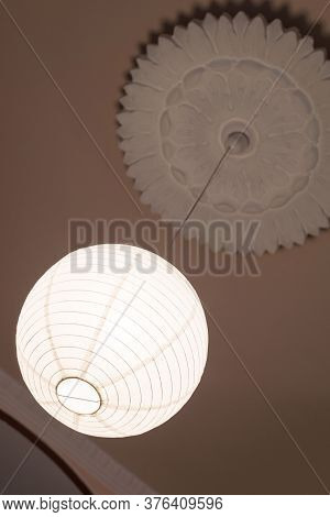 Antique Vintage Round White Ceiling Chandelier, Bottom View. Architectural Decoration On The Ceiling