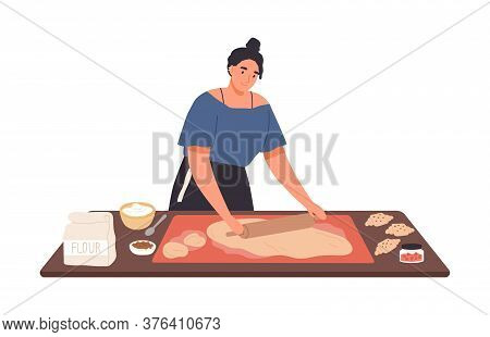Smiling Housewife Preparing Dough Use Rolling Pin On Kitchen Table Vector Flat Illustration. Happy F