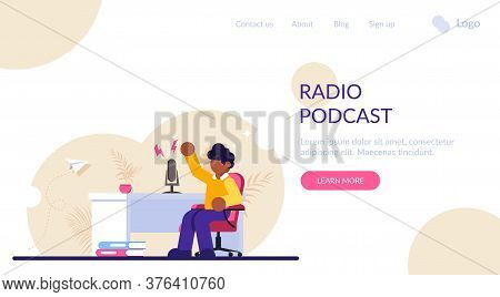 Concept Of Online Radio Presenter, Streaming. Man Podcaster In Podcast Studio, Broadcaster At Worksp